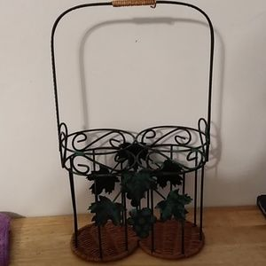 Other - Grape Leaves Cast Iron Wine Bottle Holder